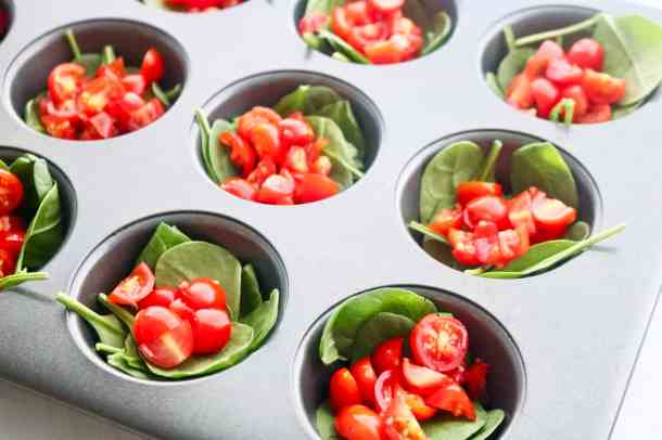 Spinach and Tomato in muffin pan