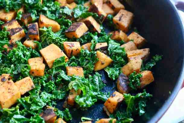 Kale and Sweet Potato cooking in pan