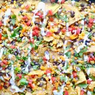 Aerial view of sheet pan nachos