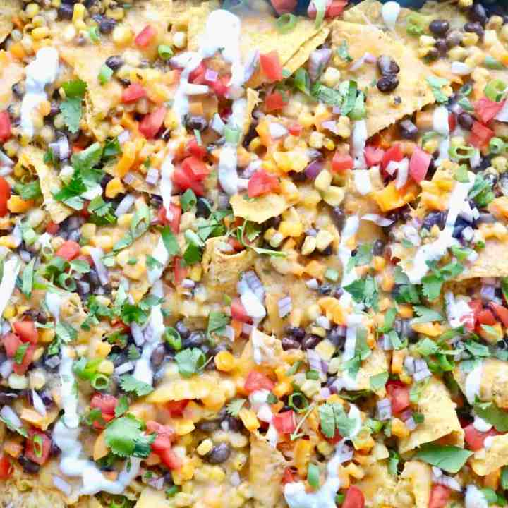 Aerial view of sheet pan nachos
