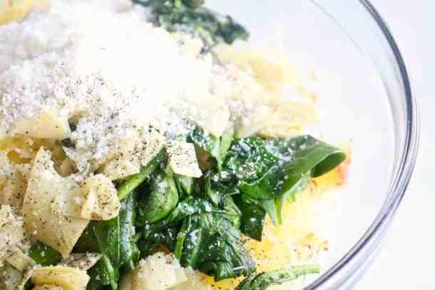 Spinach and artichoke spaghetti squash filling