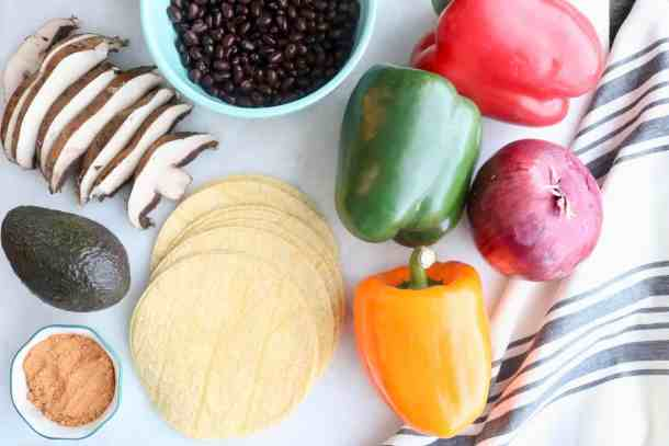 Black bean veggie fajita ingredients
