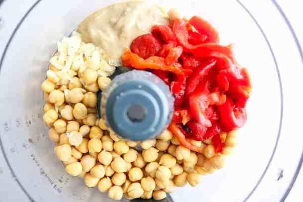 Ingredients for red pepper hummus in food processor