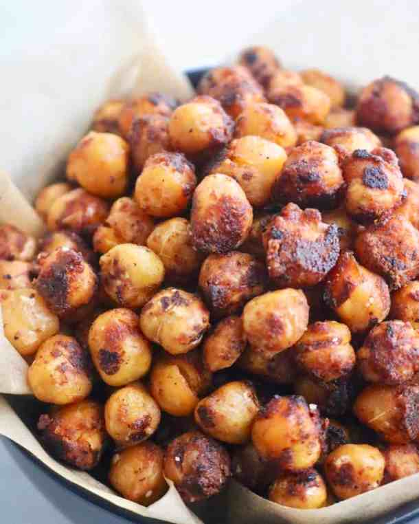 Close up of roasted chickpeas in a bowl