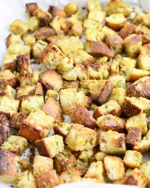 Crispy garlic croutons on pan