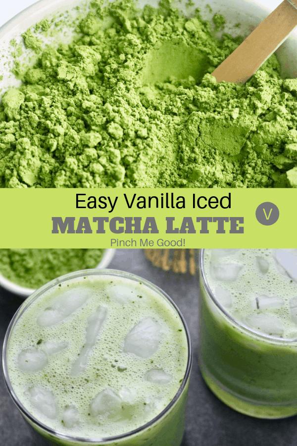 Easy Vanilla Iced Match Latte - Vegan