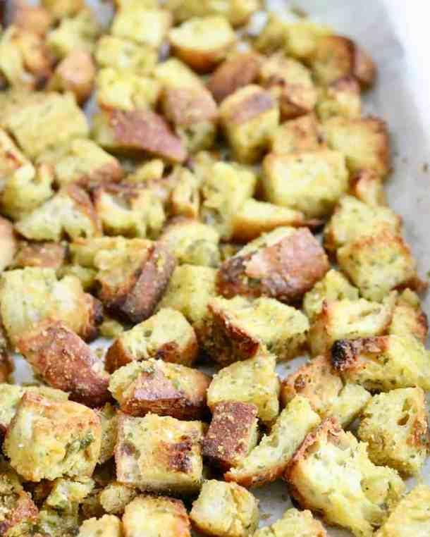 Garlic croutons baked