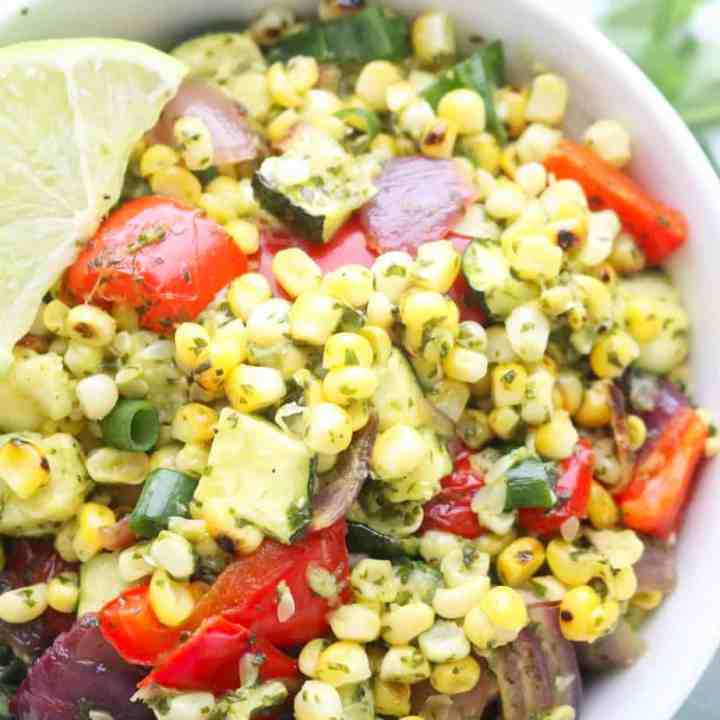 Grilled Corn and Zucchini Salad with Cilantro Lime Dressing