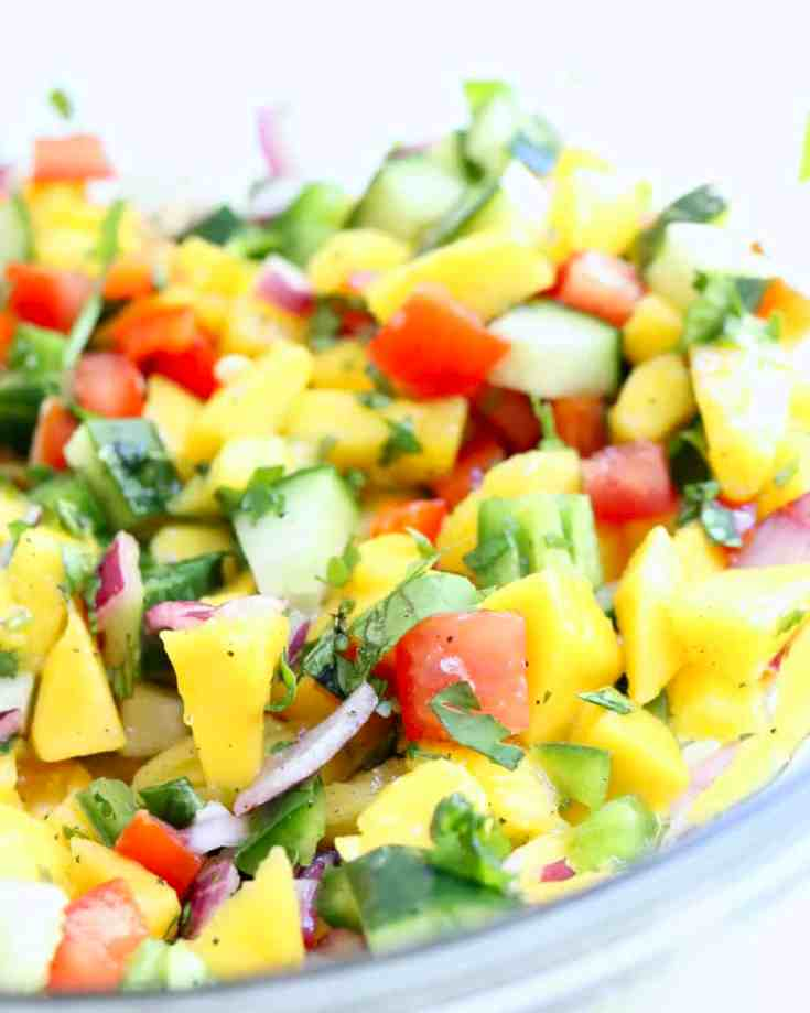 Healthy homemade salsa! Fresh diced mango mixed with crunchy cucumber, red bell pepper, red onion, garlic and cilantro. All finished off with lime juice, red wine vinegar, olive oil, agave, salt and pepper. The perfect side salad, party appetizer or just for a quick snack. Vegan, gluten-free and so good!!! #homemadesalsa #mangosalsa #mangoes #salsarecipes