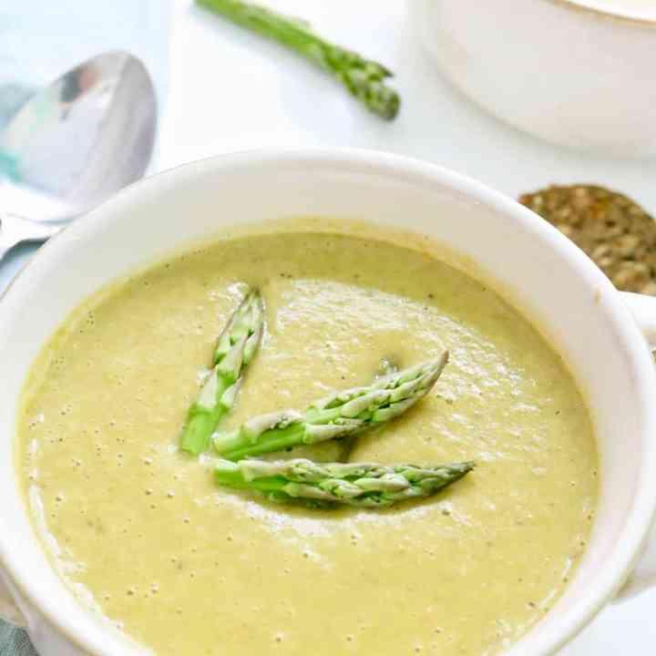 Bowl of creamy asparagus soup