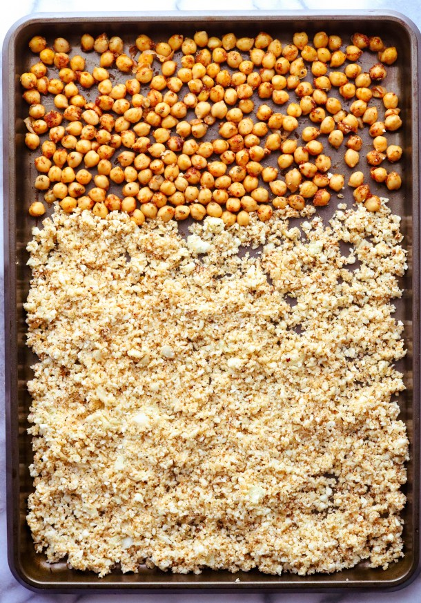 Roasted cauliflower rice on a sheet pan with chickpeas