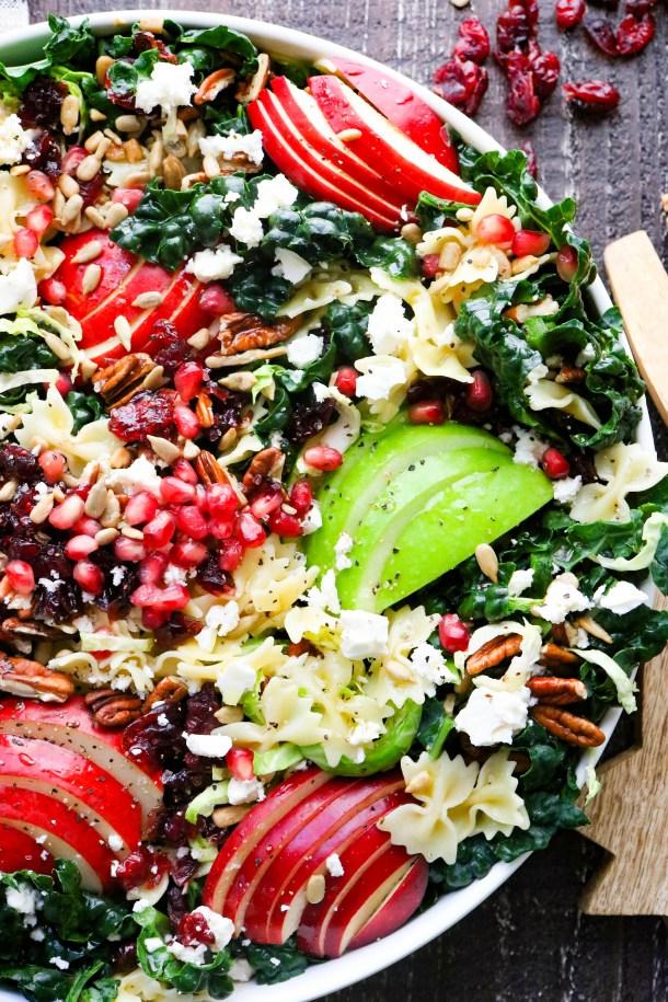 Texture shot of autumn crunch pasta salad