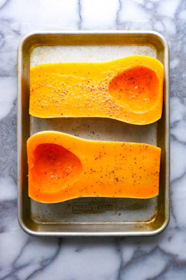 Sliced butternut squash halves_