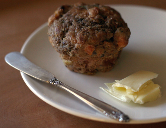 Peach Banana Bran Muffin with Butter