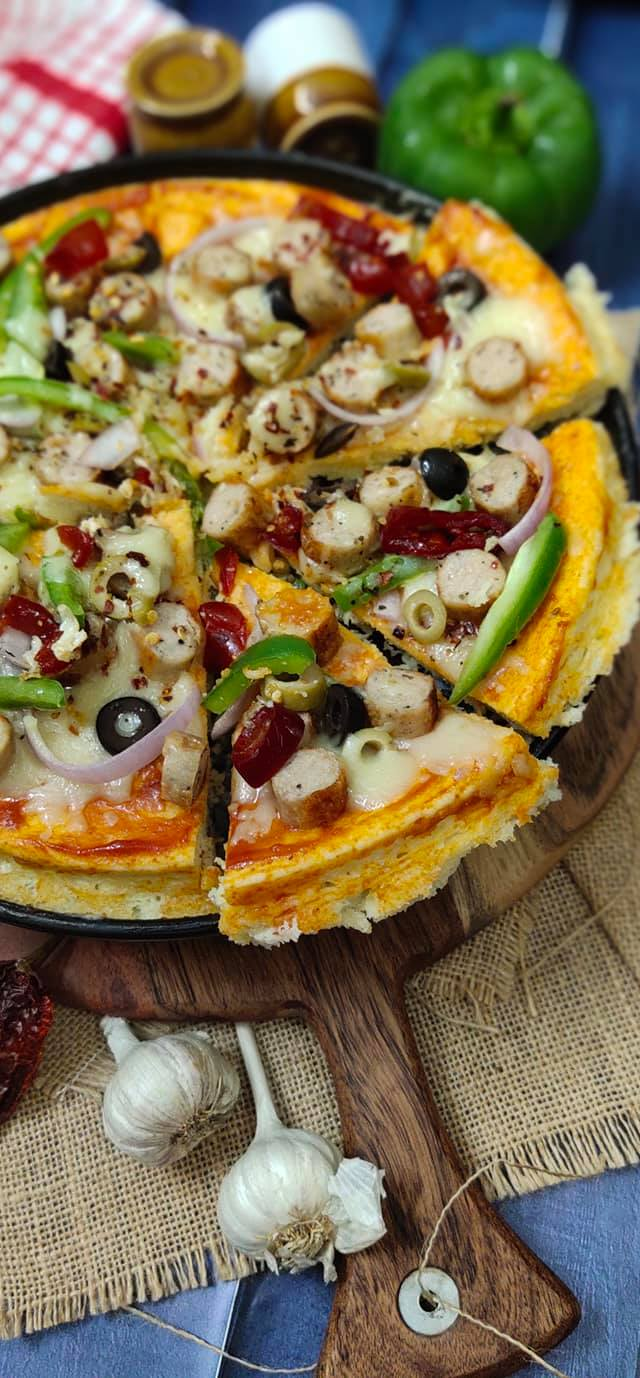 Chicken sausage pizza (No-Knead)Recipe