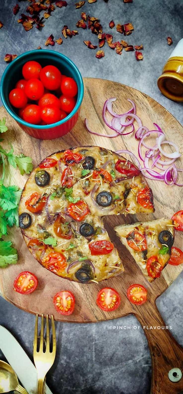 Foccacia Bread with tomato and olive
