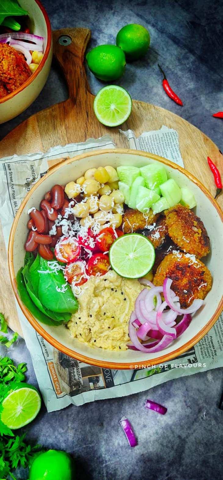 Mediterranean Quinoa Patties & Hummus buddha bowl