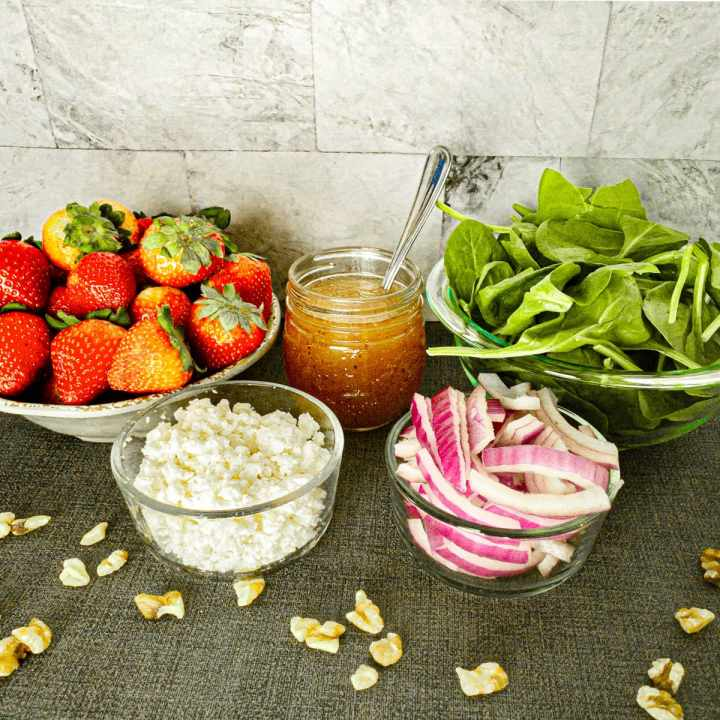 Ingredients for Strawberry Spinach Walnut Salad