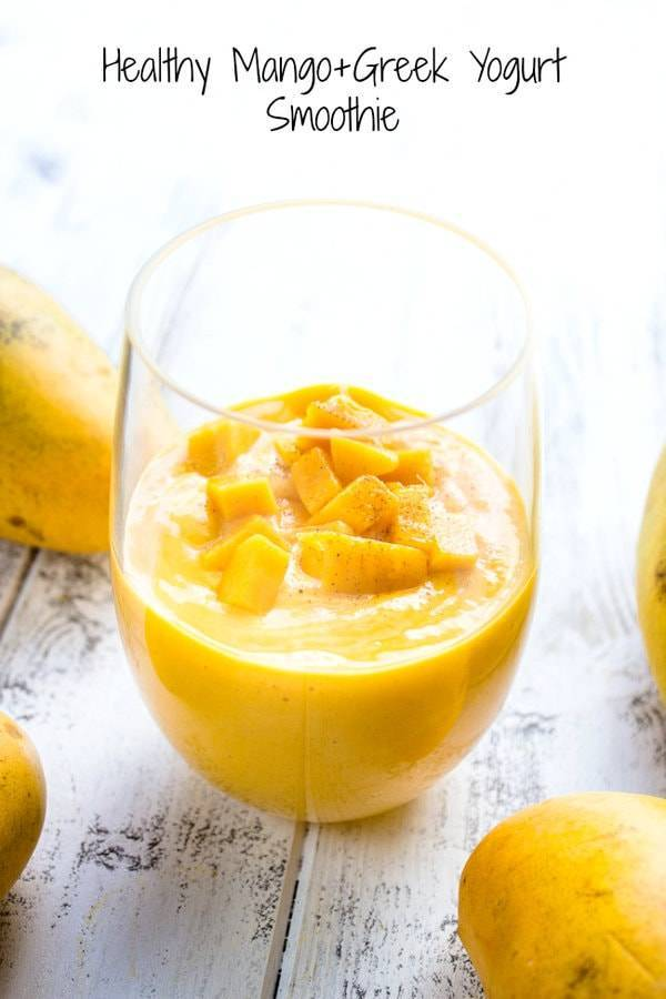 Yellow smoothie with mangoes.