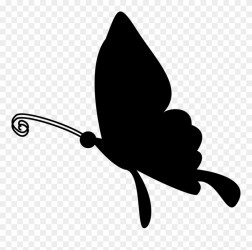 Butterfly Flying Silhouette Comments Clip Art White Black Butterflies Png Download #1337897 PinClipart