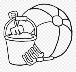 Beach Ball Clipart Black And White 6 Clip Art Coloring Beach Toys Coloring Pages Png Download #189138 PinClipart