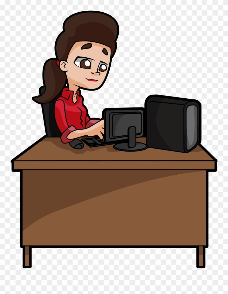 Front Desk Clipart : front, clipart, Woman, Deeply, Focused, Desk,, Typing, Clipart, (#1862870), PinClipart