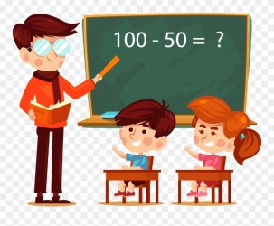 A Teacher And A Student Clipart Students In Classroom Cartoon Png Transparent Png #463227 PinClipart