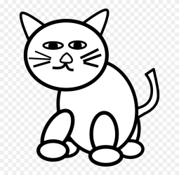 Pin Pets Clipart Simple Cat Cat Black & White Png Download #5443488 PinClipart