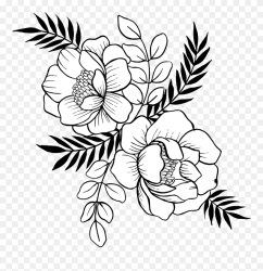 Flower Stem Clipart Black And White Png Download #5578662 PinClipart