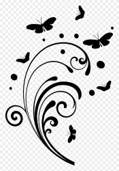 Butterfly Design Clipart Simple Black And White Swirls Png Transparent Png #78110 PinClipart
