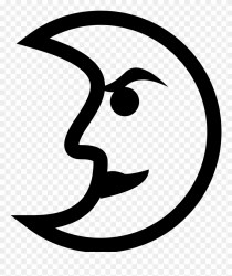 Freeuse Library First Quarter Moon Clipart Moon With Face Black And White Line Png Download #963318 PinClipart