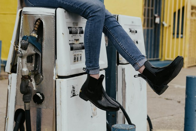 Denim jeans and boots