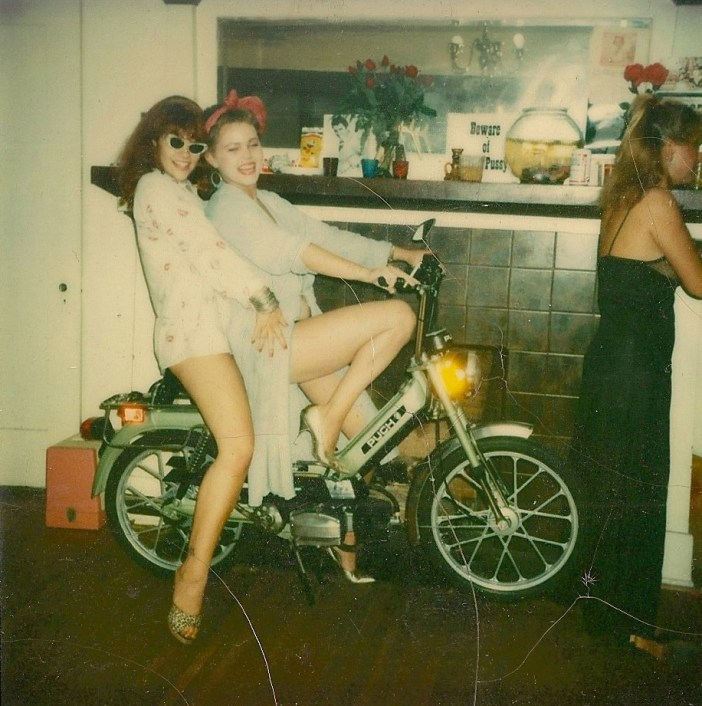 "Princess Farhana and Belinda Carlisle at their home ""Disgracedland"", 1979."