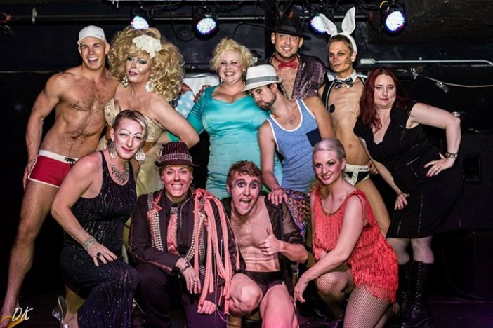 Queerfest2014: Queerfest was produced by Bad Weather Burlesque as an all-Fargo entertainer fundraiser for the Pride Collective Community Center. Pictured back row R-L: Brick Smash, Mia Starr, Sinfull Siren, Charlie Valentine, Myst Eerious Mr. P, Jack Fantom, Enchanting Erica. Front Row: Miss Kitty, BJ Armani, Bender !Flames!, Tansy Tassels. Photo courtesy Douglas Klettke