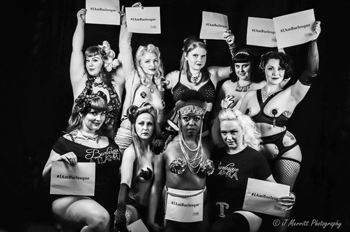 Back Row L-R: Bunny WiggleBottom, Pinky Shear, Mary Strawberry, Mickie Sinn, Sadie Hawkins.  Front Row L- R: Roula Roulette, Chameleon Queen, Lola LeSoliel, Tallolah Love.  Project Shot at The Burlesque Atlanta Camera Club Studio at The Goat Farm.