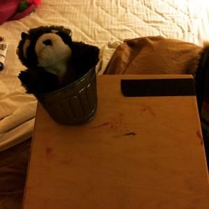 Tifa's blood-smeared bedside table.