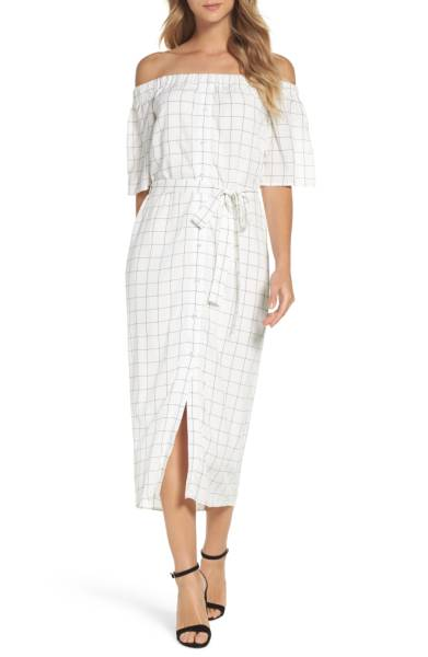 charles henry off the shoulder shirtdress