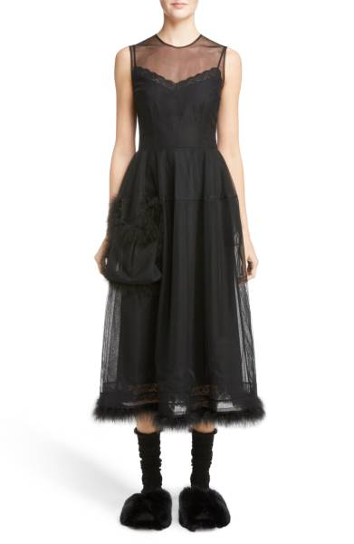 Simone Rocha Teddy Feather Trim Tulle Dress
