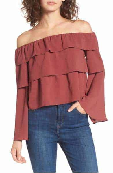 storee ruffle off the shoulder top