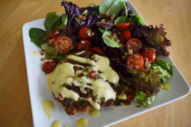 Tuscan Chicken Cakes + Tomato Basil Relish + Golden Aioli
