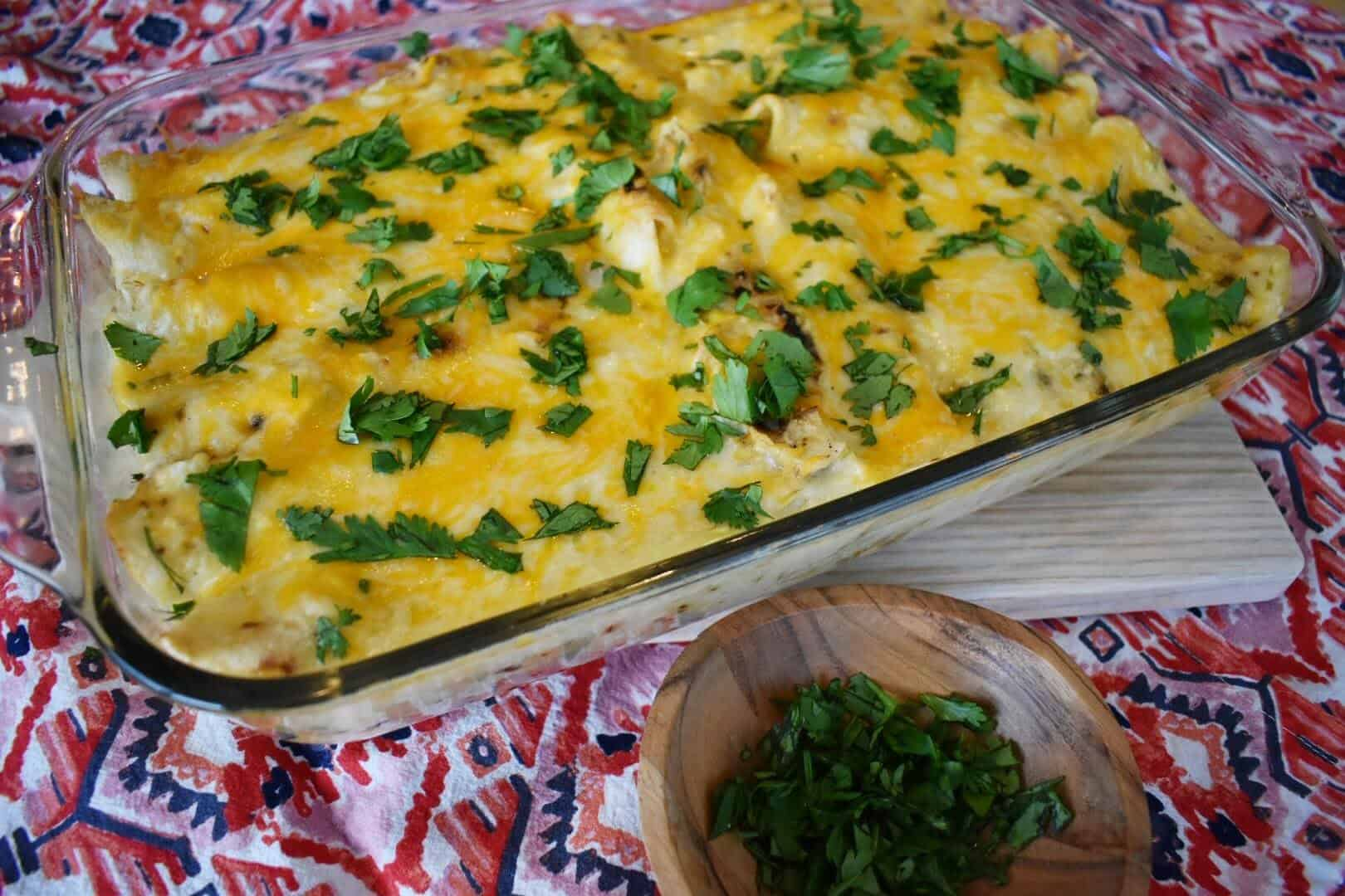 creamy green chile chicken enchiladas