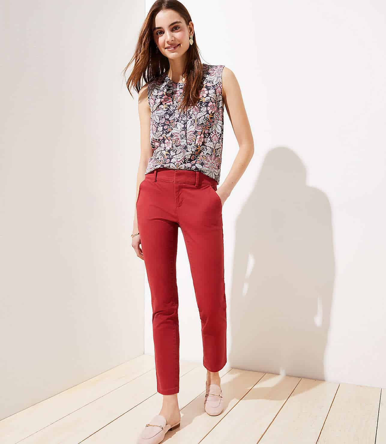 loft roll cuff girlfriend chinos