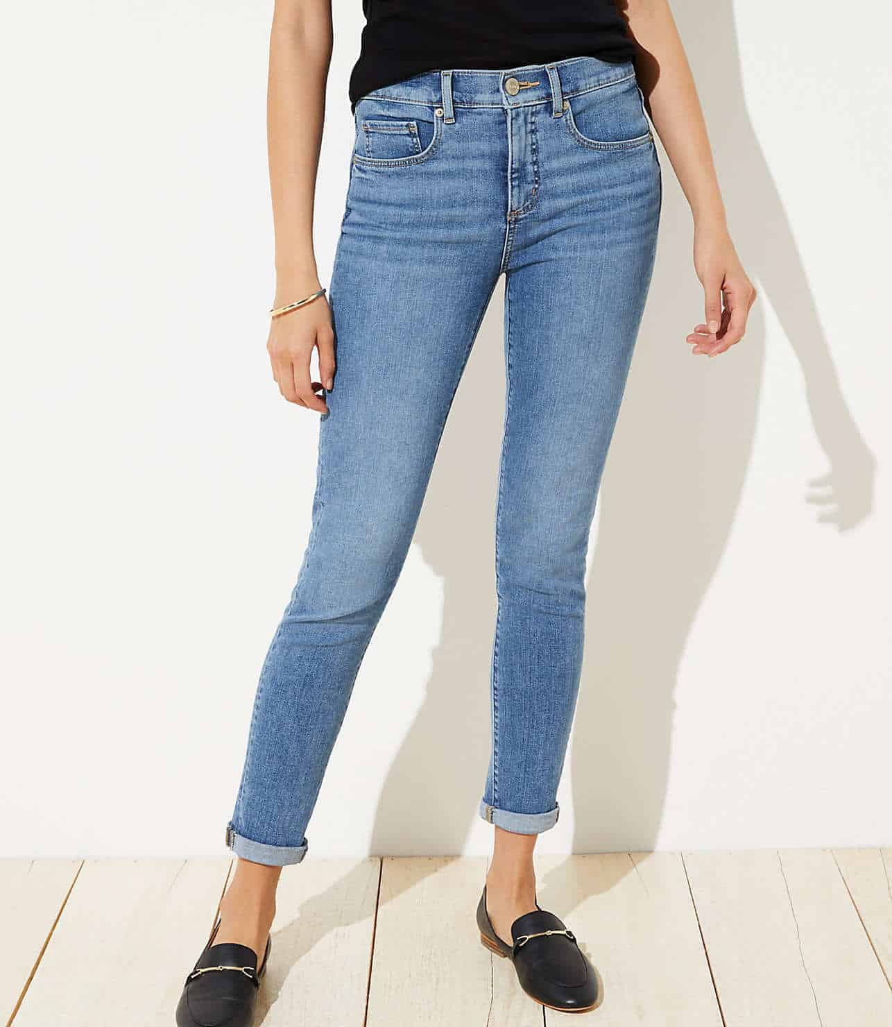 soft slim pocket skinny crop jeans in mid indigo