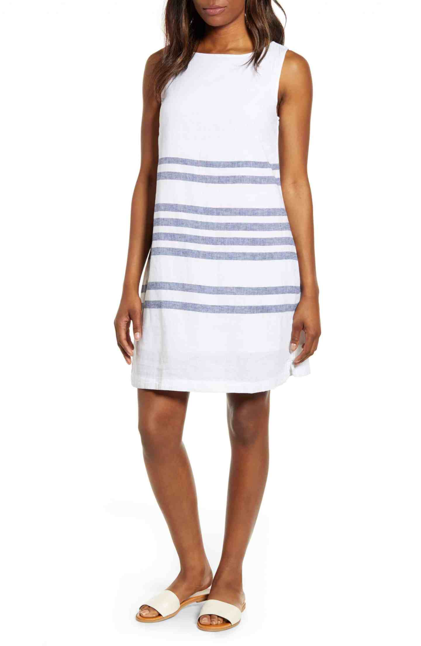 Striped Linen Cotton Shift Dress