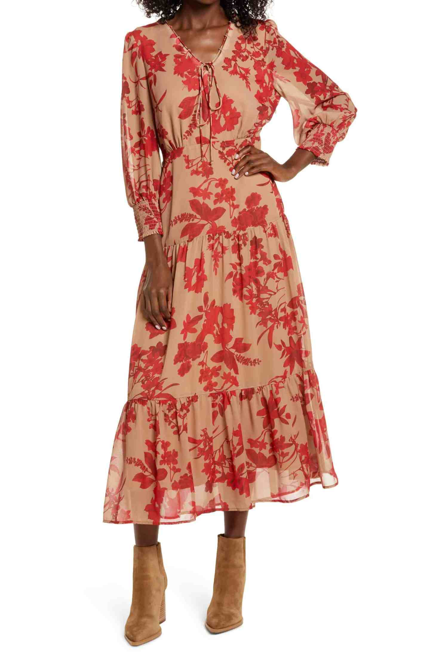 Floral-Long-Sleeve-Tiered-Midi-Dress