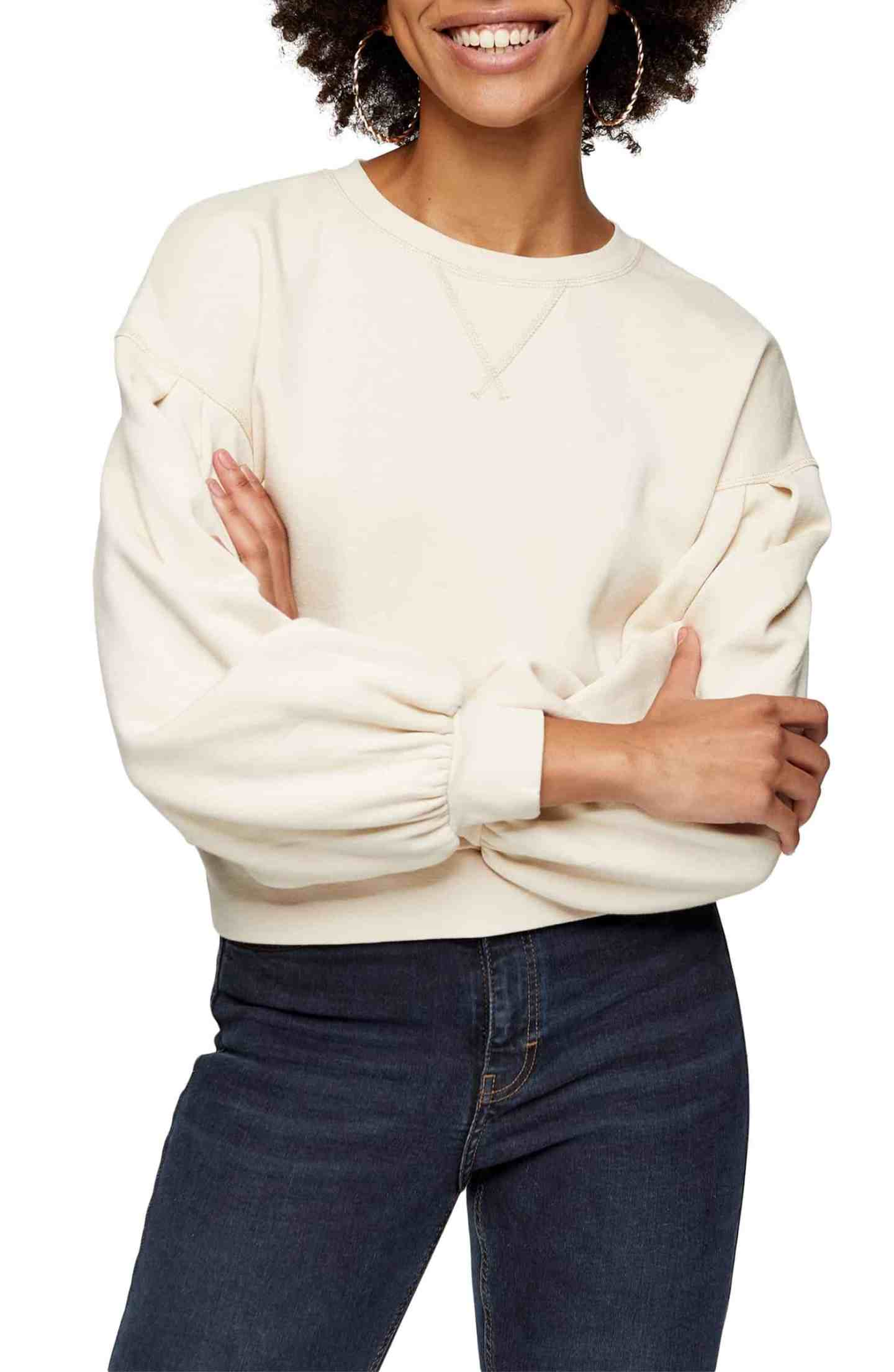 Pleated-Sleeve-Sweatshirt
