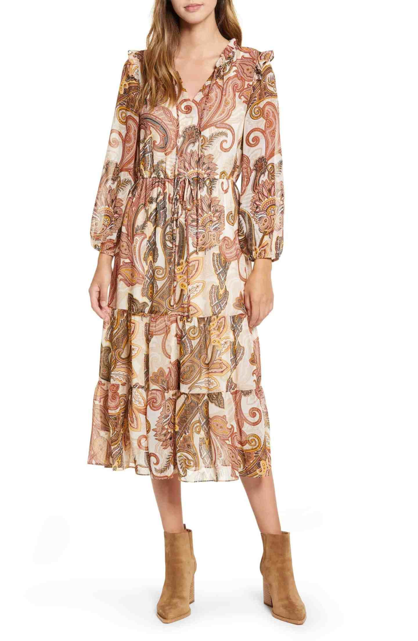 Teired-Chiffon-Midi-Dress