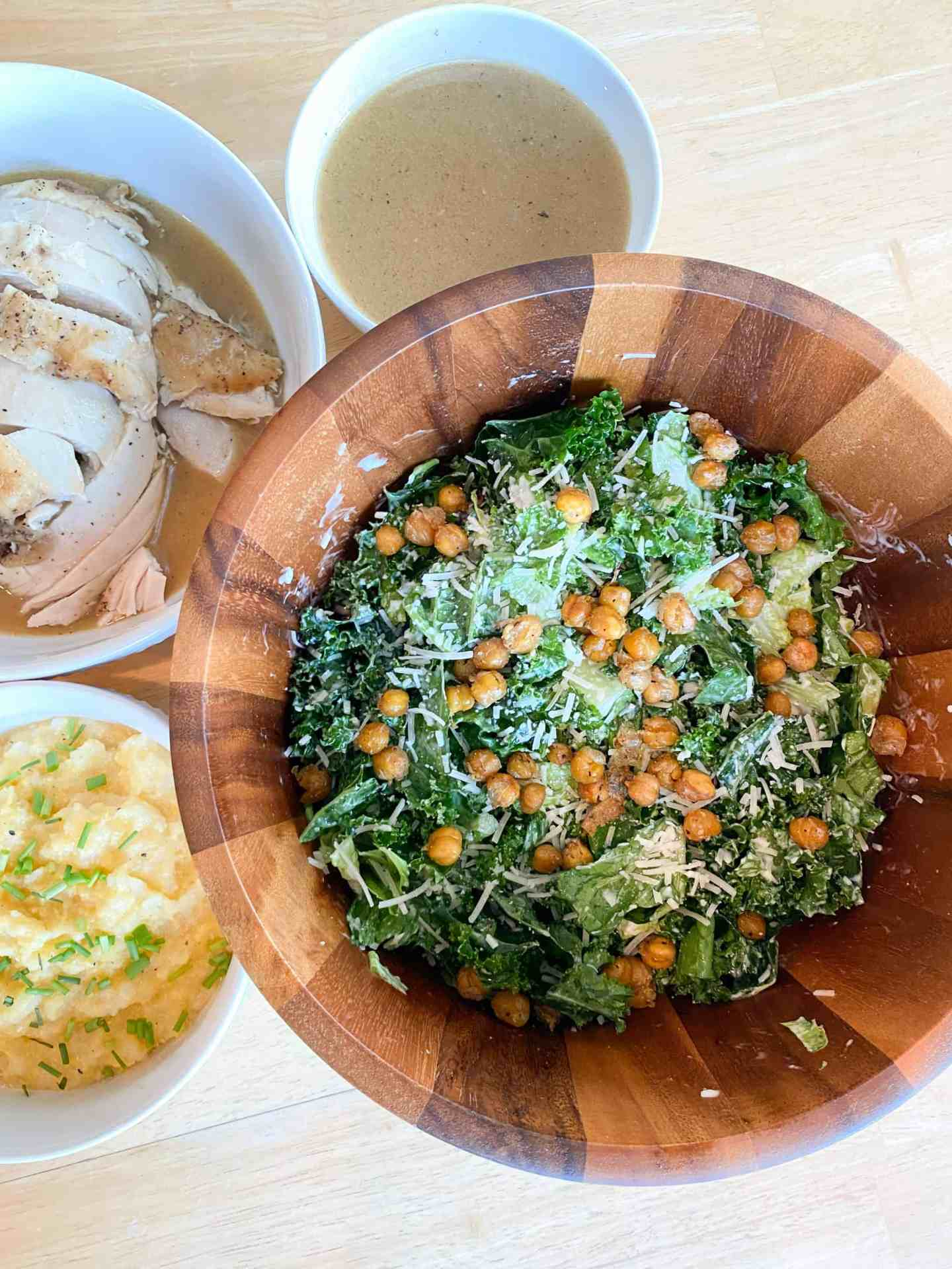 Kale-and-Romaine-Salad-Roasted-Chicken-and-Cheesy-Polenta