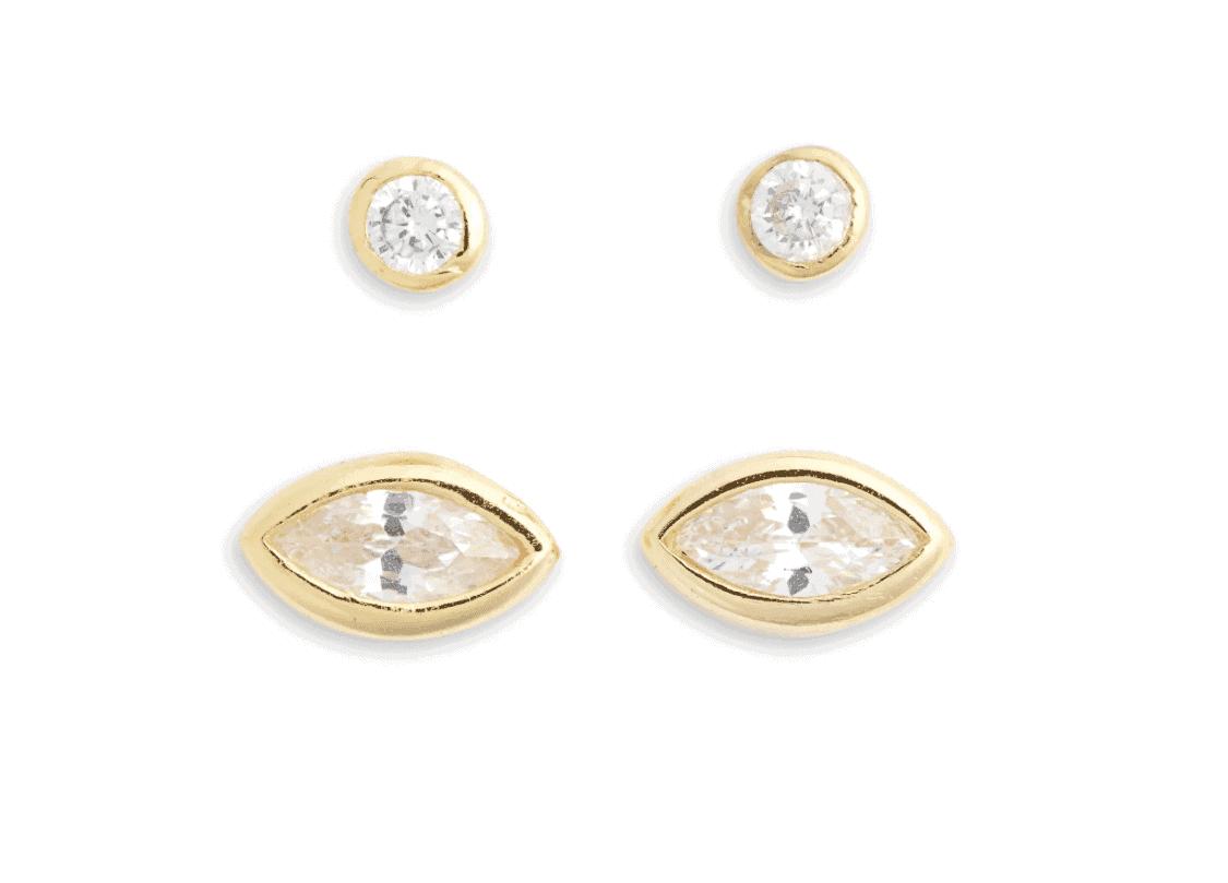 set of 2 bezel stud earrings