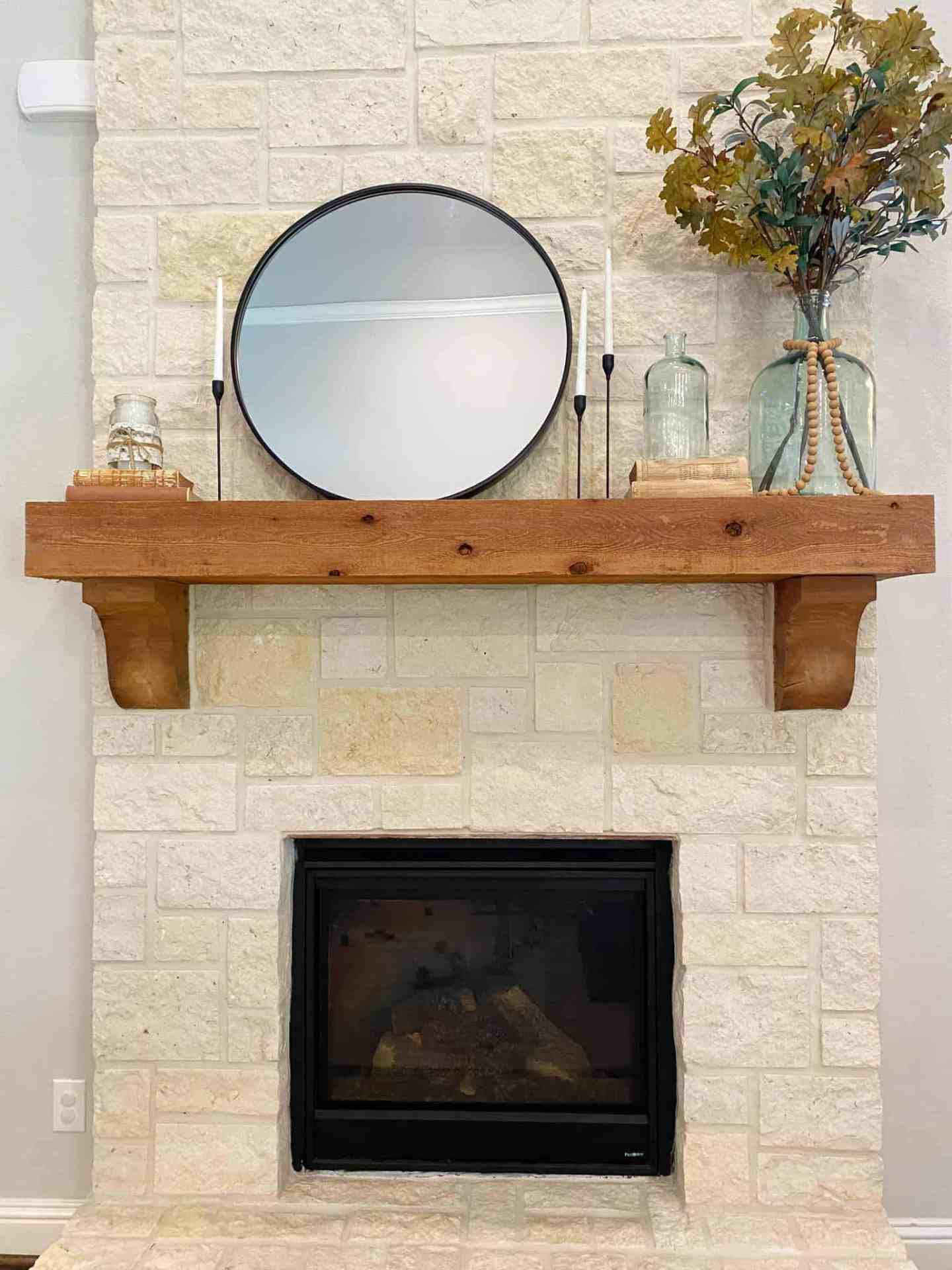 fireplace mantle fall decor